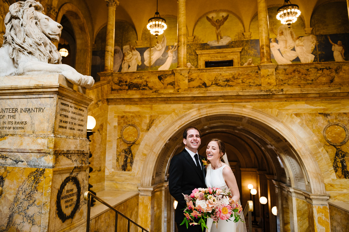 Portrait of Bride and Groom at the Boston Public Library