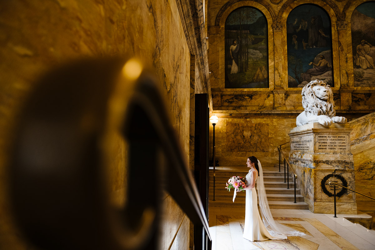Bridal portrait at the Boston Public Library