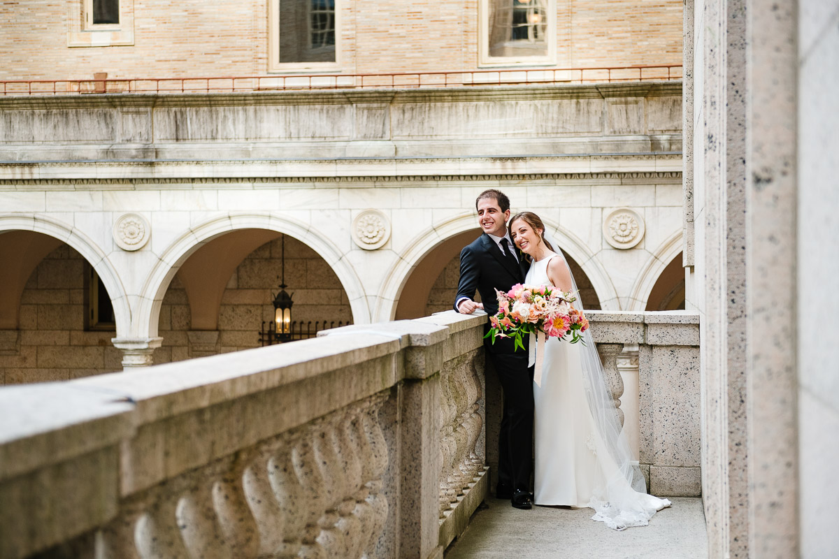 Wedding portrait on the balcony at the Boston Public Library