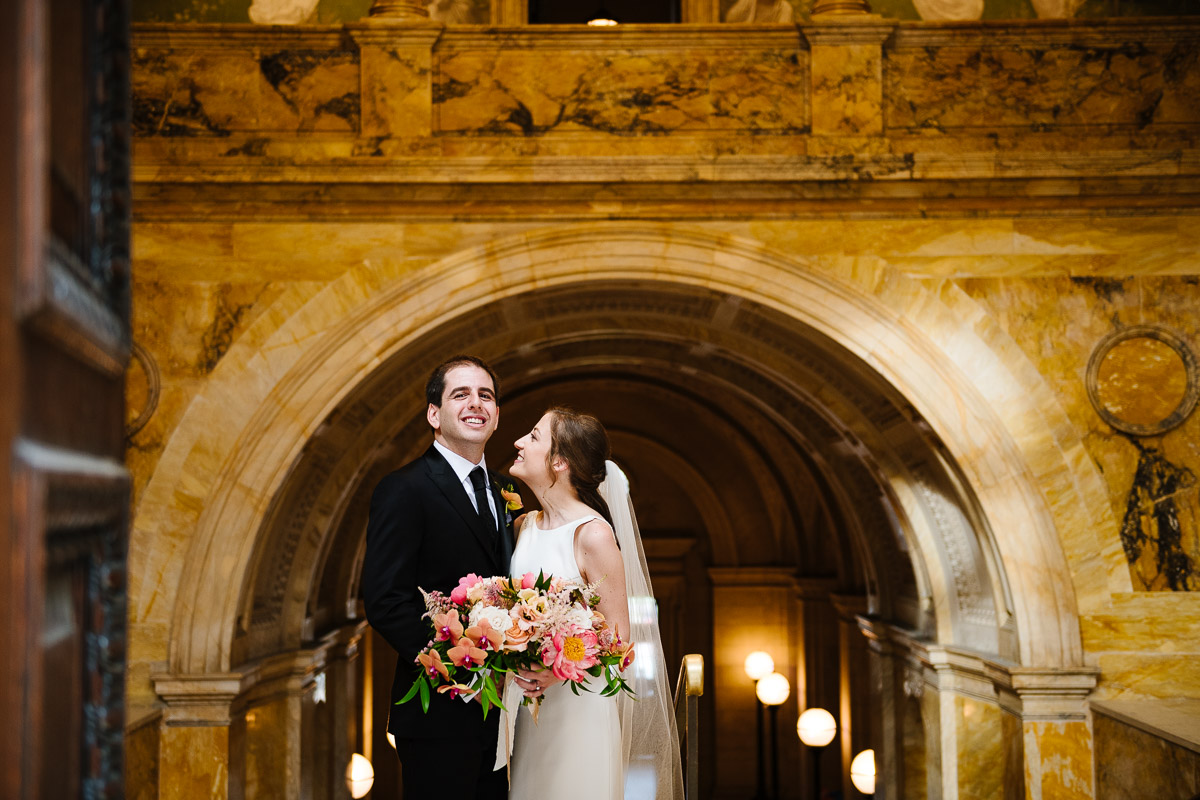 Bride and Groom on the staircase at the Boston Public Library