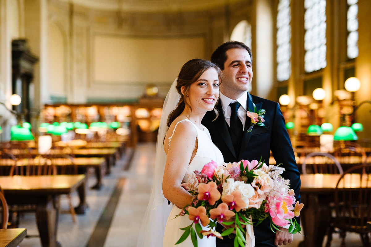 Bride and Groom in Bate's Hall at the Boston Public Library