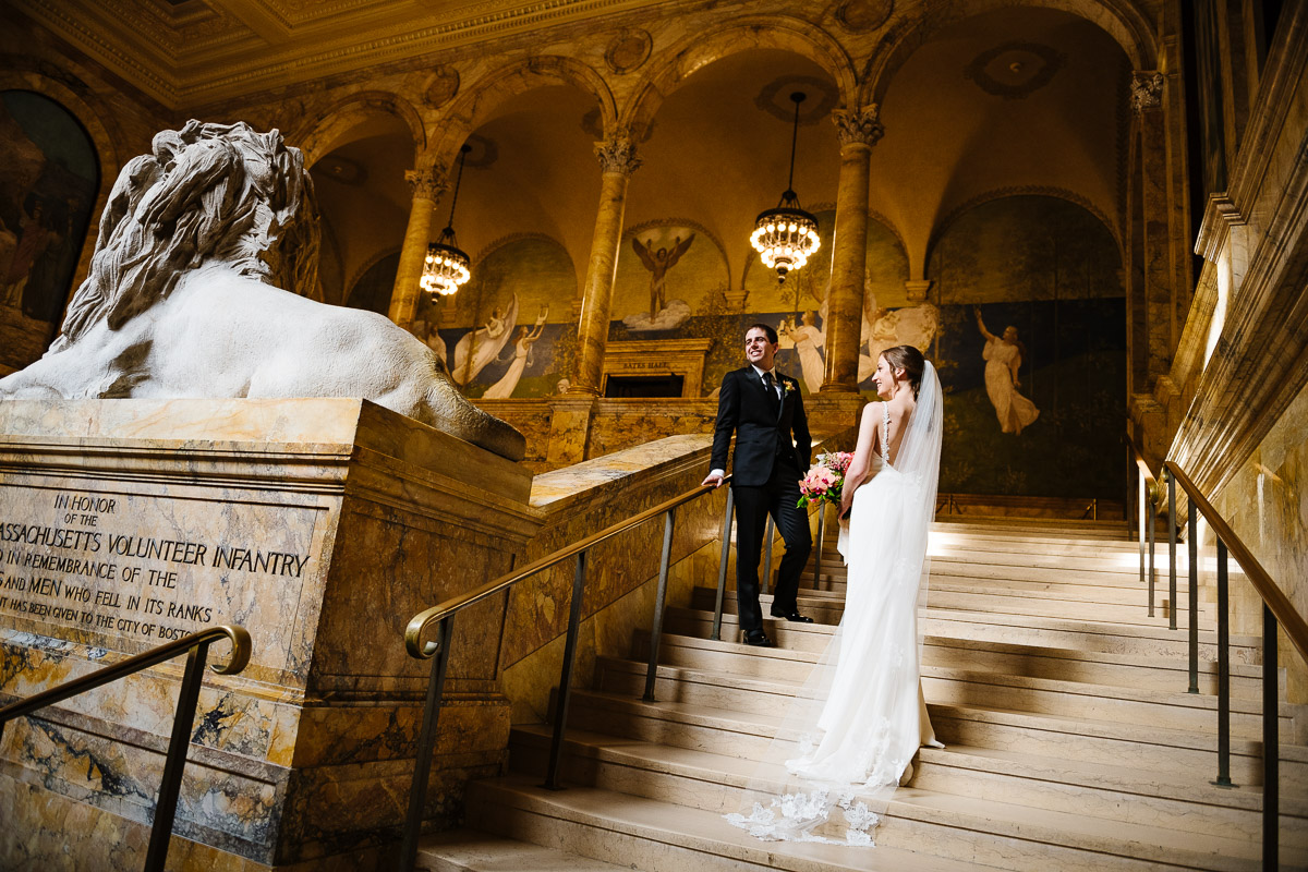 Wedding portrait of a Bride and Groom at the Boston Public Library