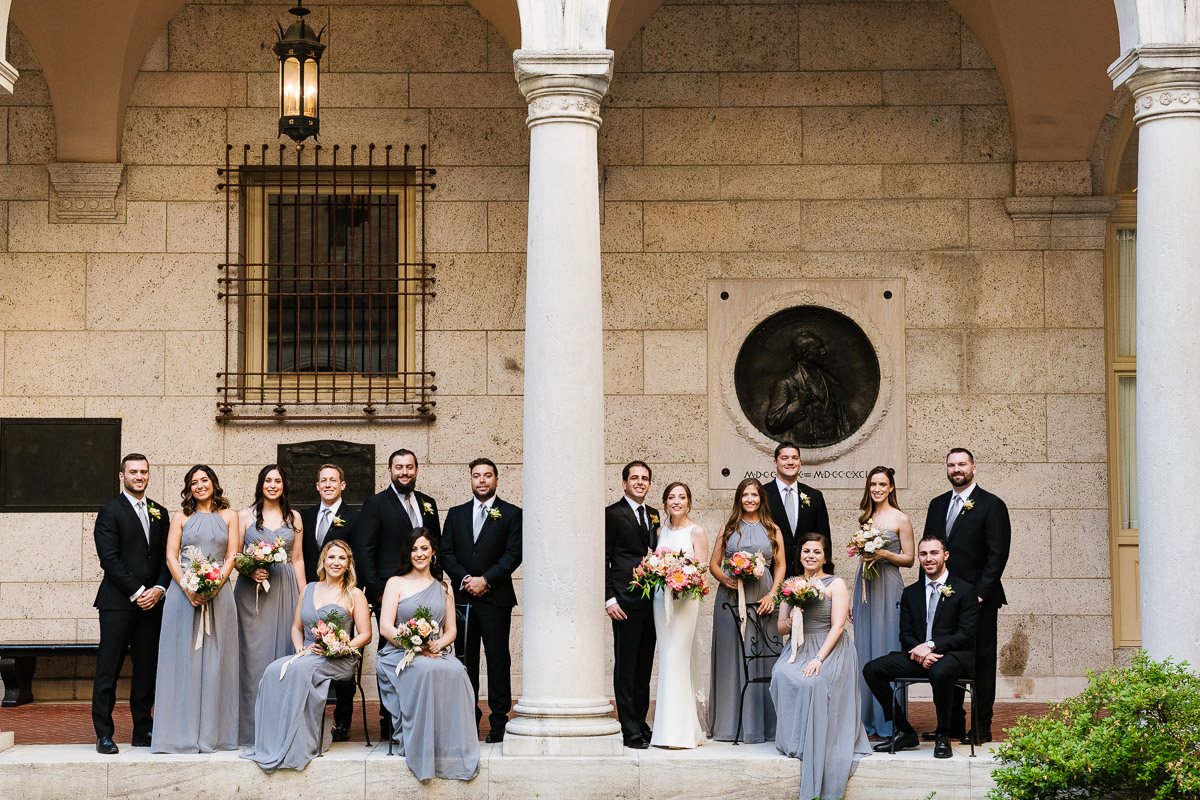Bridal party formal at the Boston Public Library