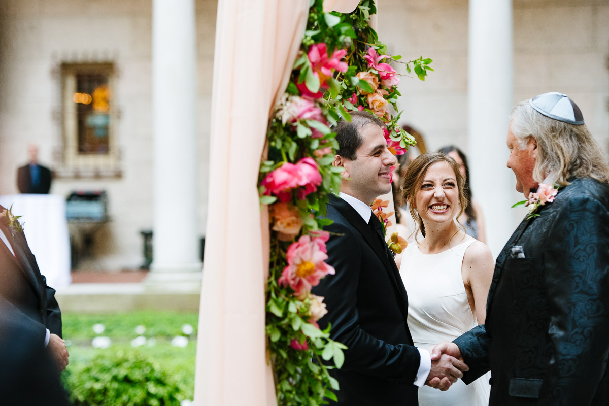 Courtyard wedding ceremony at the Boston Public Library