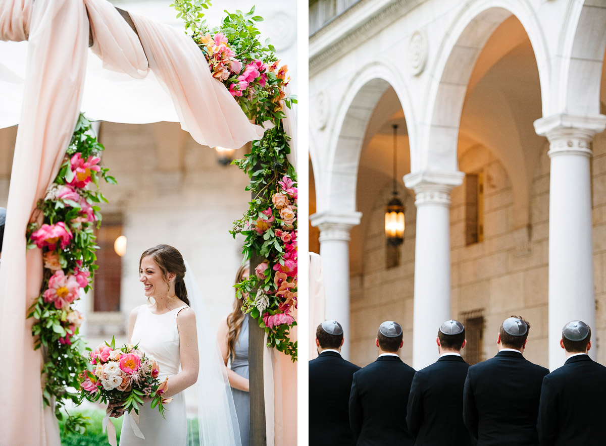 Jewish wedding ceremony in the courtyard at the Boston Public Library