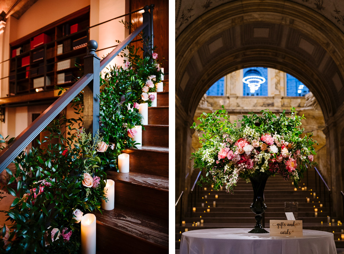Staircase florals by Mimosa Boston