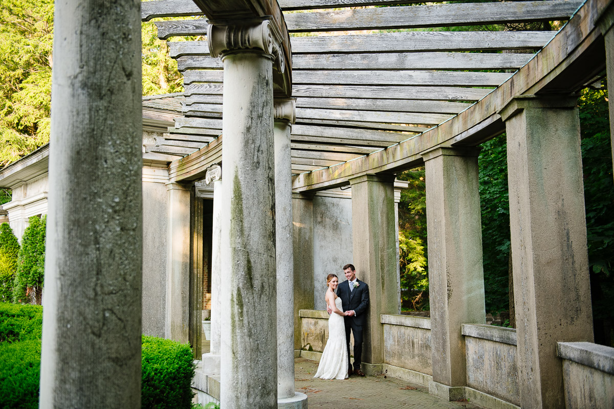 Brandegee Estate garden wedding day portrait