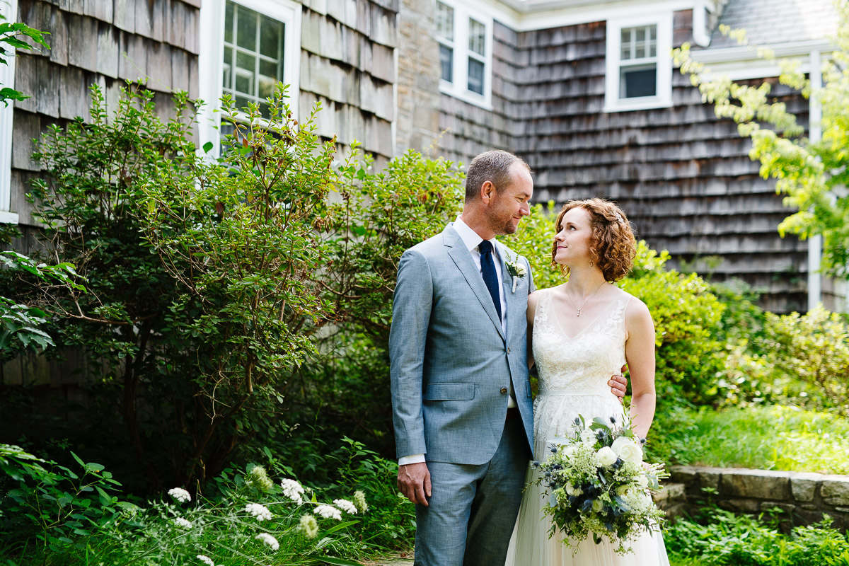 Portrait of a Bride and Groom at the Overbrook House