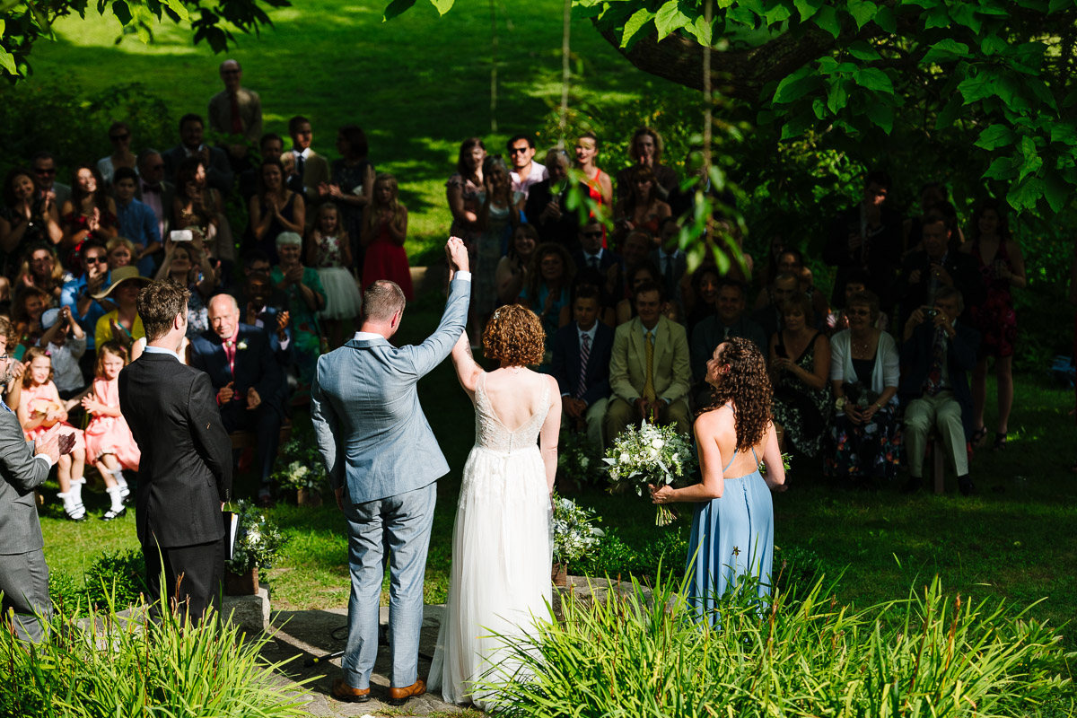 Couple's wedding ceremony at the Overbrook House