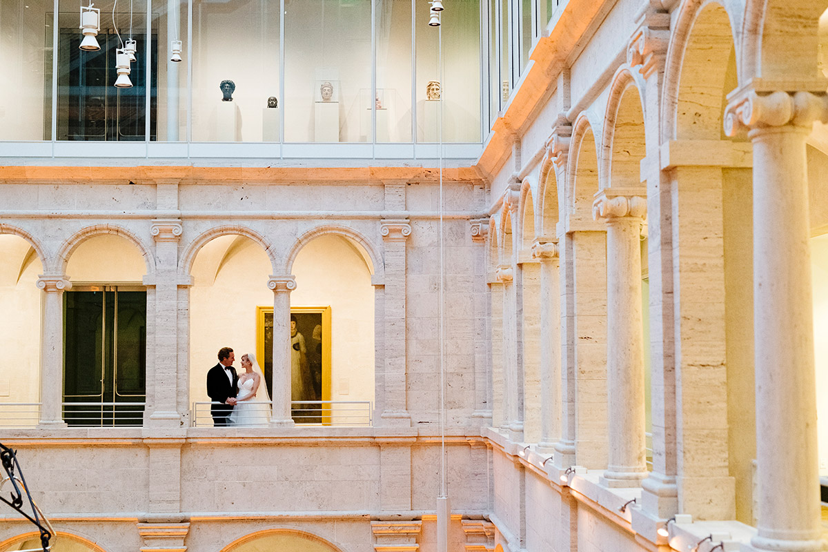 Wedding day portrait at the Harvard Art Museum