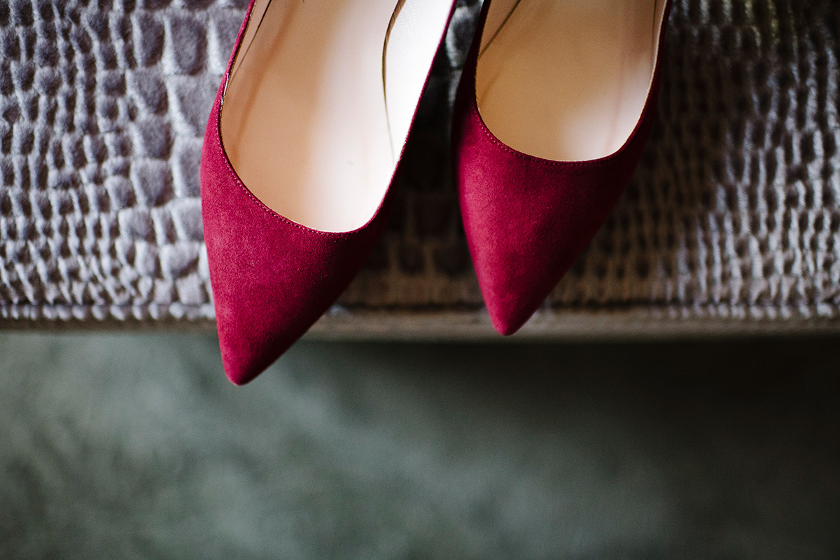 Pointed suede wedding flats