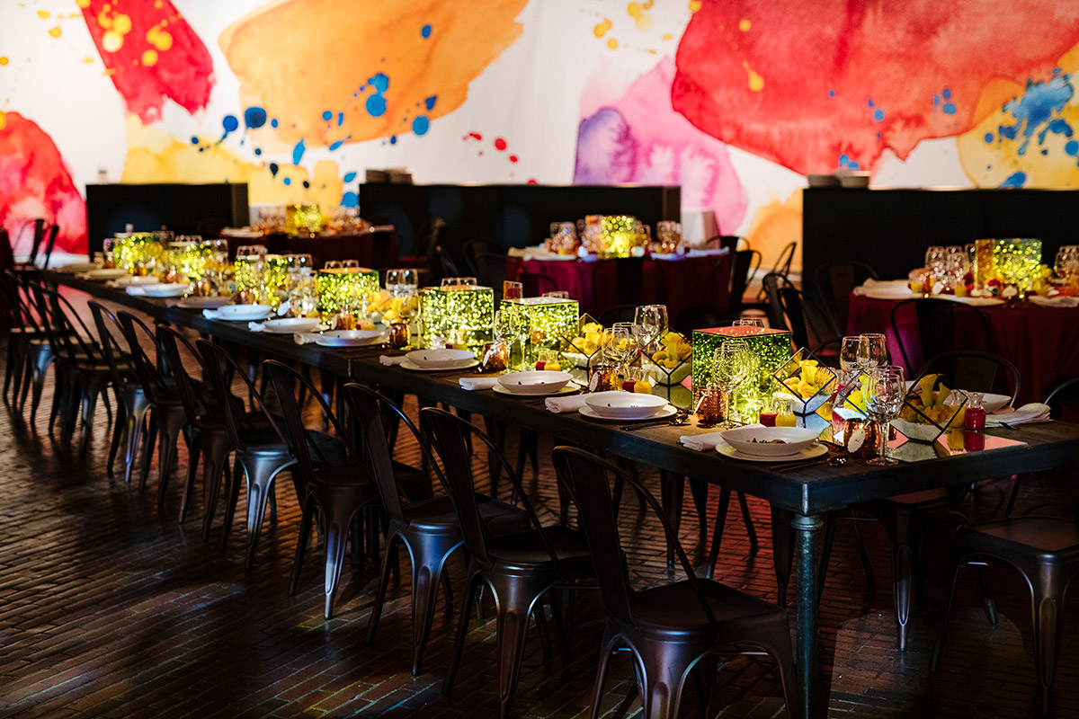 Long reception tables at the Cyclorama